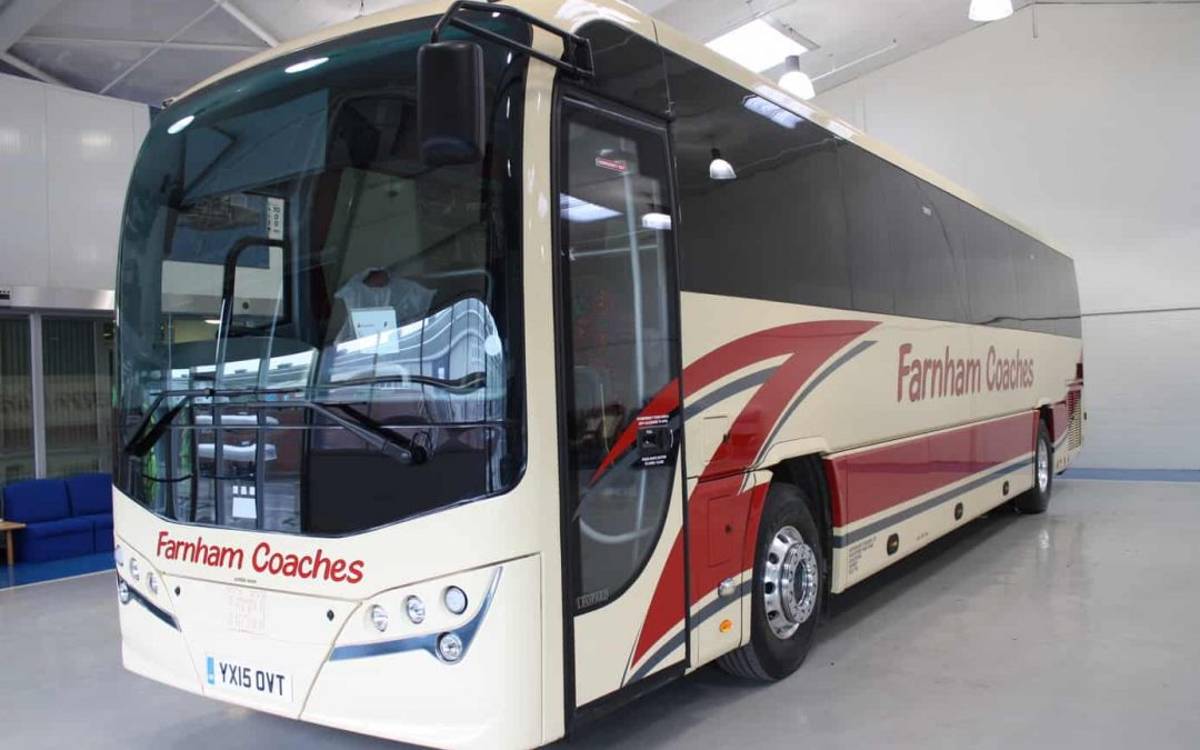 Safeguard Coaches choses a Plaxton Leopard coach on a Volvo chassis for its Farnham Coaches fleet.